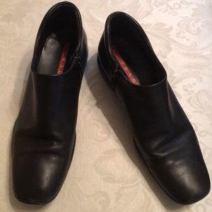 Prada Authentic Black Leather Ankle Boots 38